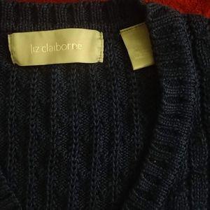 Liz Claiborne Navy Blue Cable Knit V Neck